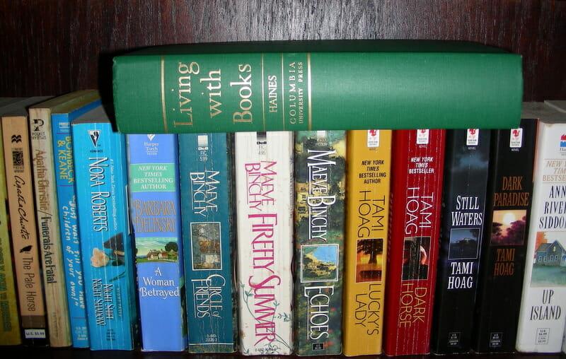 Books on a shelf to read