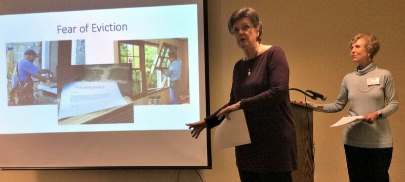 Jonda and Diane present decluttering tips to a group