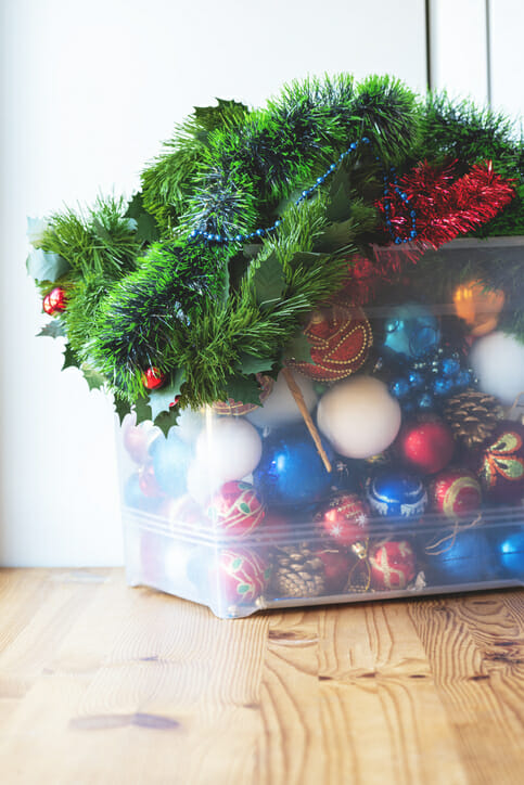 holiday decor in a clear container