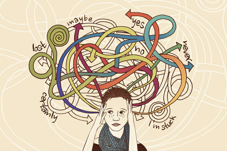 a person with so many thoughts they are consciously stuck