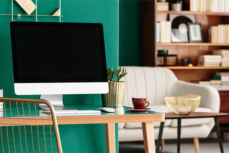 computer sitting on a desk
