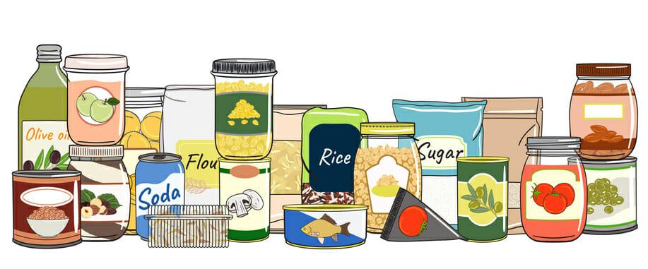 disorganized pantry items